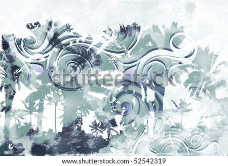 tropical island palm tree scenic with overlaying tribal scroll tattoo burnout and distressed texture - stock photo
