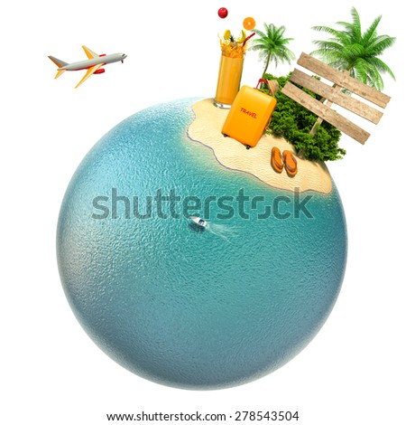tropical island, plane and boat on the planet. Travel and business concept - stock photo