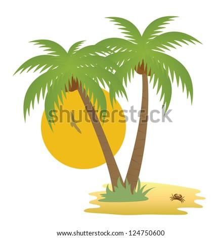 Tropical island. Raster version. Vector in my portfolio - stock photo