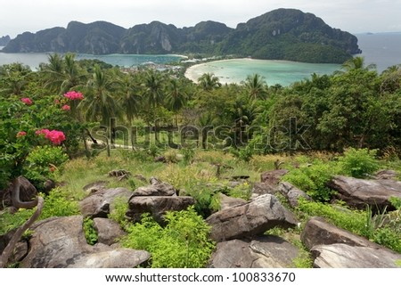 tropical island scenery from viewpoint, ko phi phi, Thailand - stock photo