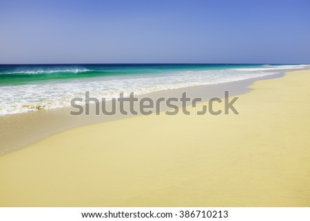 Tropical island sunny beach - Santa Monica beach, in Boavista island, Cape Verde, is considered one of the most beautiful in Africa and the world
