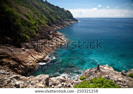 Tropical island view - stock photo