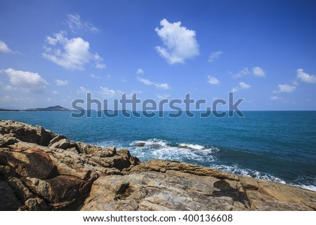 Tropical Island with Beautiful Rock and sea at Chaweng Noi Beach, Koh samui, Thailand - stock photo