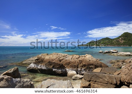 Tropical Island with Beautiful Rock and sea at Chaweng Noi Beach, Koh samui, Thailand