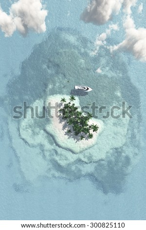 Tropical Island with Boat from Above - stock photo