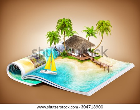 Tropical island with bungalow and pier on a page of opened magazine.  Unusual travel illustration - stock photo