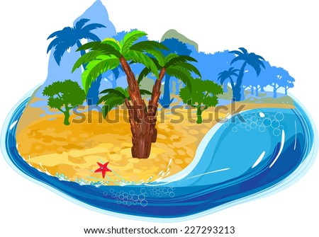 Tropical island with palms