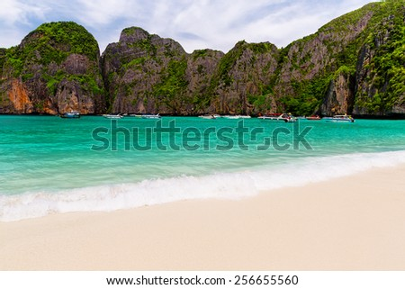 Tropical island with resorts - Phi-Phi island, Krabi Province, Thailand. - stock photo