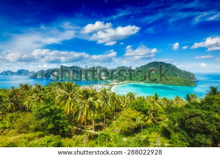 Tropical island with resorts wallpaper - Phi-Phi island, Krabi Province, Thailand - stock photo