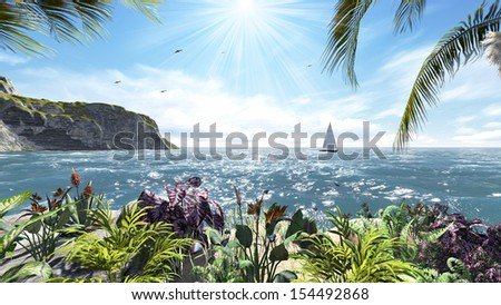 Tropical island with sea view - stock photo