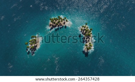 Tropical islands in ocean - stock photo