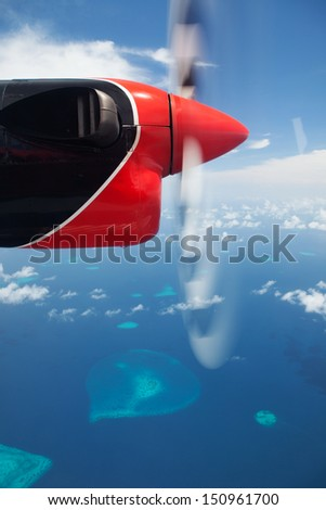 Tropical islands, view from hydroplane - stock photo