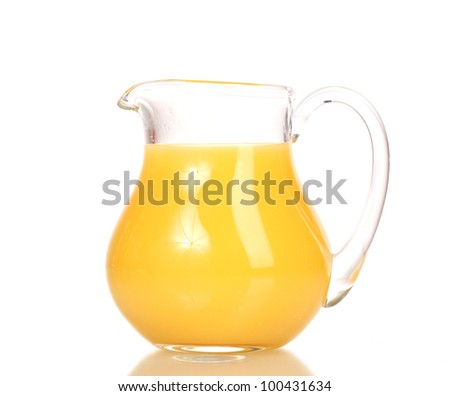 Tropical juice in glass pitcher isolated on white - stock photo