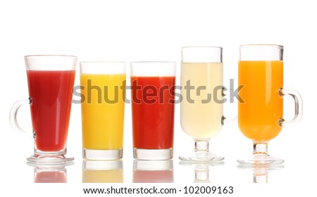 Tropical juices in glasses isolated on white