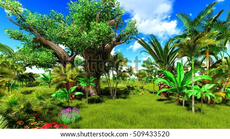 Tropical jungle 3d illustration