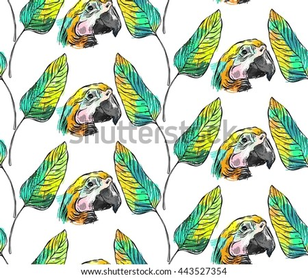 Tropical jungle seamless pattern with parrot bird and palm leaf on white background.Hand draw abstract texture summer illustration.Tropical exotic birds pattern.Colorful tropic art.Tropical background - stock photo