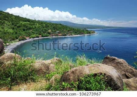Tropical lagoon with clear transparent water and green coast with grass and trees