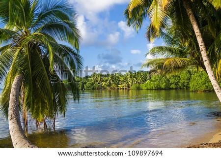 Tropical landscape from Sainte Marie Island, Madagasar - stock photo