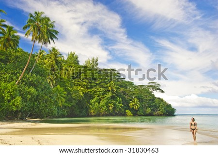 Tropical landscape, Huahine island, French Polynesia South Pacific - stock photo
