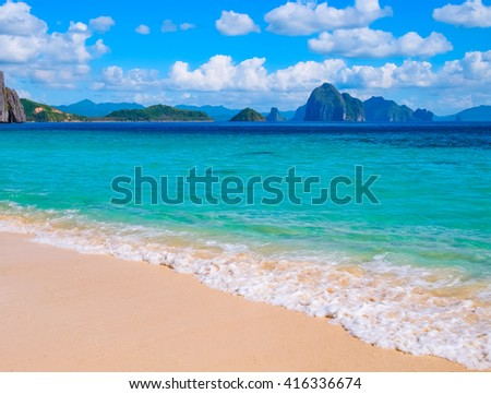 Tropical landscape of sandy beach, Palawan, Philippines, Southeast Asia - stock photo