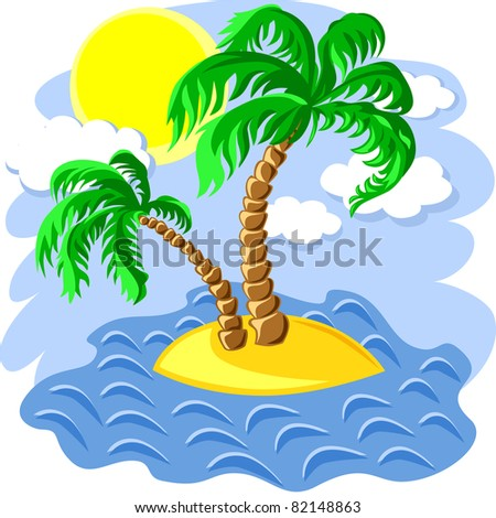 tropical landscape of the island in the ocean and two palm trees at noon