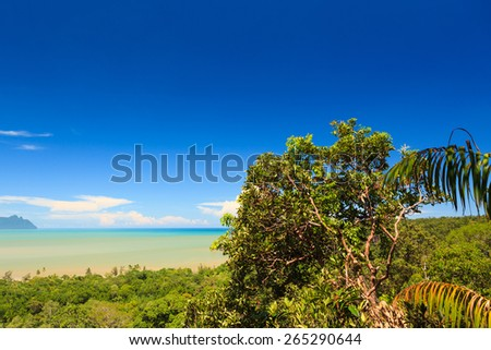 Tropical landscape over jungle and hills - stock photo