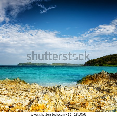 Tropical landscape. Sea and sky. Coron island, Philippines. - stock photo