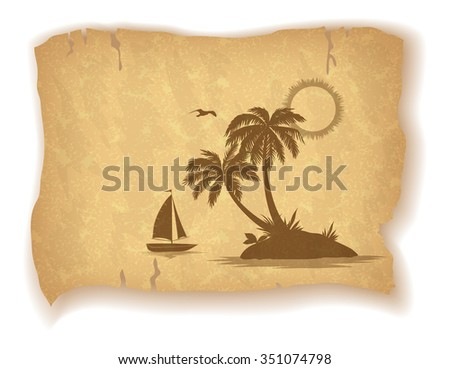 Tropical Landscape, Sea Island with Palm Trees, Ship, Sun and Bird Gull Silhouettes on Vintage Background of an Old Sheet of Paper