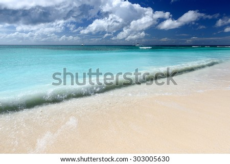 tropical landscape with a beach in a sunny day - stock photo