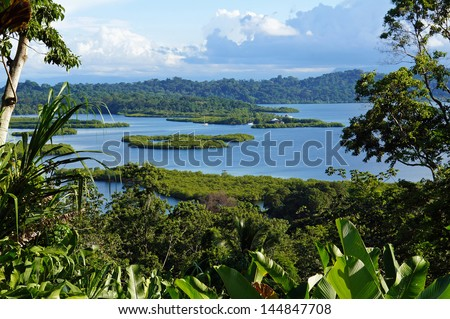 Tropical landscape with mangrove island in the archipelago of Bocas del Toro, Caribbean, Panama, Central America - stock photo