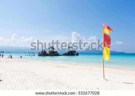 Tropical landscape with turquoise sea and white sandy beach, boracay, philippines  - stock photo