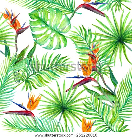 Tropical leaves and exotic flowers. Seamless jungle pattern. Watercolor - stock photo