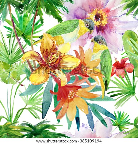 Tropical leaves and flowers. seamless watercolor background. - stock photo