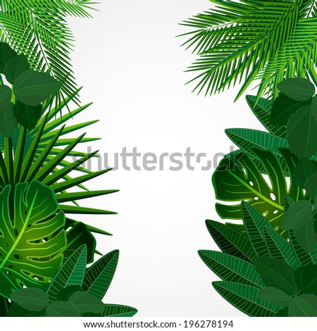 Tropical leaves. Floral design background. - stock photo