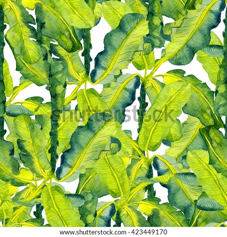 Tropical leaves pattern. Palm watercolor seamless background. Exotic tropical leaves pattern. Summer swimwear seamless pattern with banana palms. - stock photo