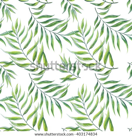 Tropical leaves seamless pattern. Watercolor illustration. - stock photo
