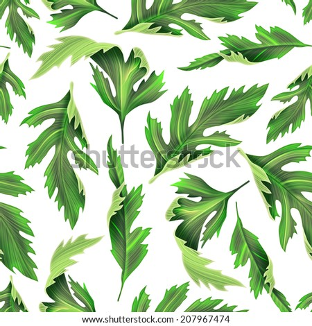 Tropical leaves. seamless stylish fashion floral pattern, in Hawaiian style - stock photo