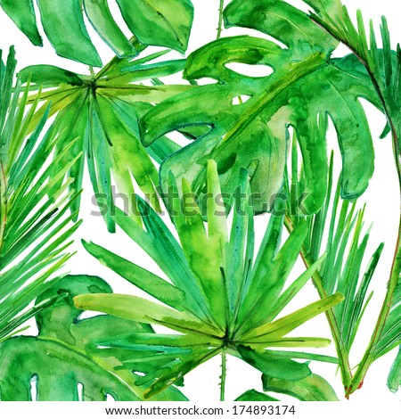 Tropical leaves. seamless watercolor background. - stock photo