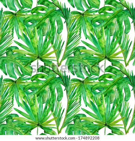 Tropical leaves. watercolor background - stock photo