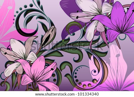 tropical lilly floral illustratration with illuminating color and glowing irridescent scroll leaf background. - stock photo