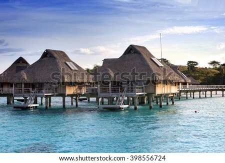 tropical lodges over the sea . Islands at the ocean.