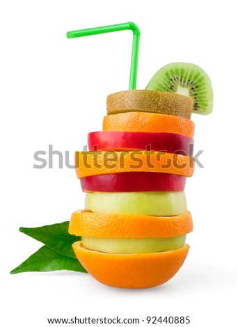 Tropical mixed fruit on white background - stock photo