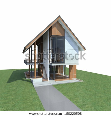 Tropical modern house, Design and development for steel structure - 3D Render of a building - stock photo