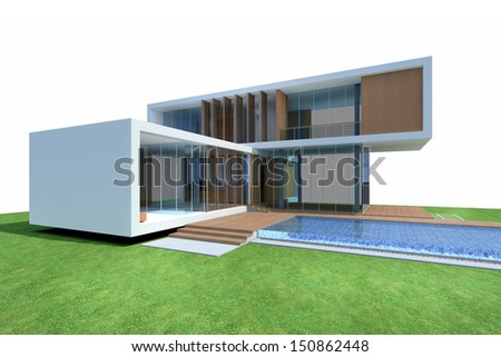 Tropical modern house with swimming pool, 3D Render of a building - stock photo