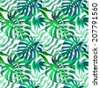 Tropical monstera and palm leaves. seamless stylish fashion floral pattern, in Hawaiian style - stock