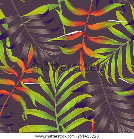 Tropical monstera and palm leaves. seamless stylish fashion floral pattern, in Hawaiian style - stock photo