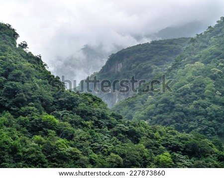 Tropical mountainscape in Taroko National Park in Taiwan. - stock photo