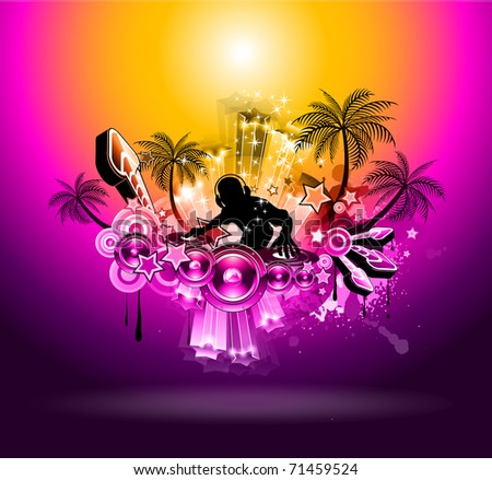 Tropical Music Party Disco Flyer with Sunset Magic lights - stock photo