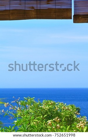 Tropical ocean view from terrace. Calm blue empty sea and green exotic tree. View from beach house to the sea.