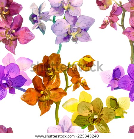Tropical orchid flowers. Repeating floral pattern. Water color - stock photo